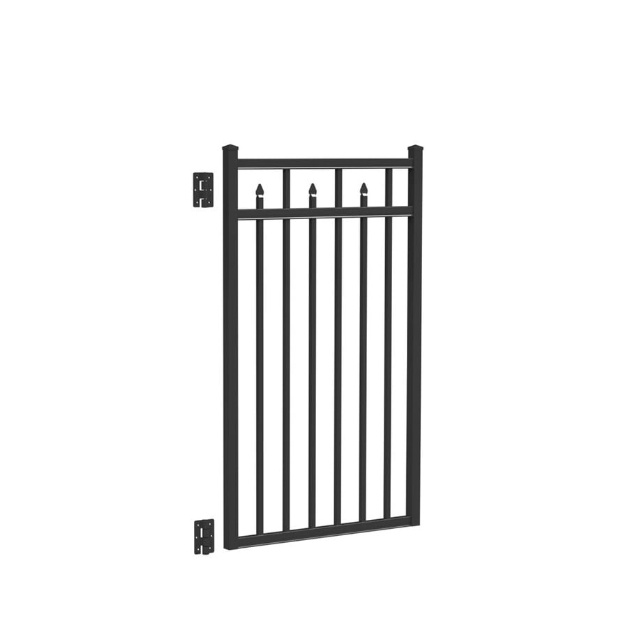Freedom (Common: 4.5-ft x 3-ft; Actual: 4.66-ft x 2.875-ft) Concord Black Aluminum Decorative Fence Gate