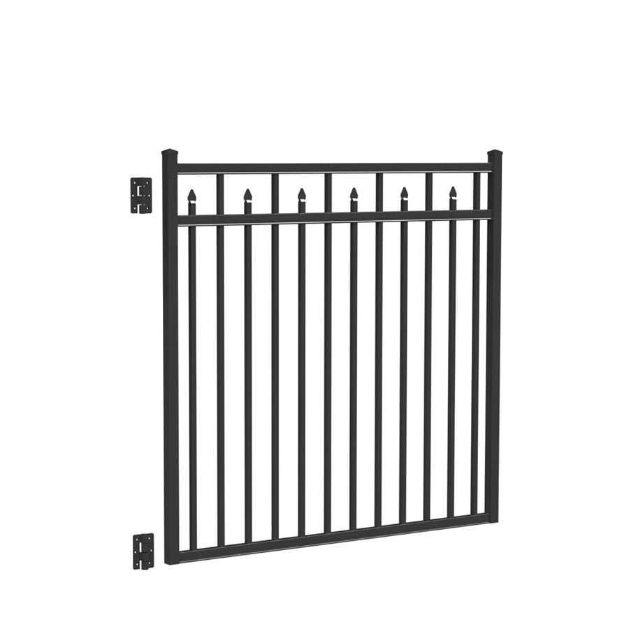 Freedom Concord Black Aluminum Decorative Fence Gate (Common: 4.5-ft x 5-ft; Actual: 4.66-ft x 4.875-ft)