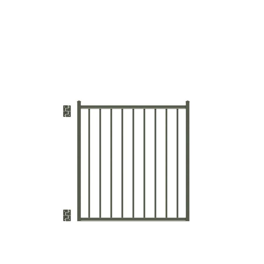 Freedom (Common: 4-ft x 4-ft; Actual: 4.16-ft x 3.875-ft) Easton Pewter Aluminum Decorative Fence Gate