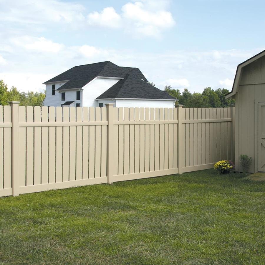 Freedom (Common: 6-ft x 8-ft; Actual: 6.06-ft x 8-ft) Ready-To-Assemble Waverly Sand Vinyl Semi-Privacy Fence Panel