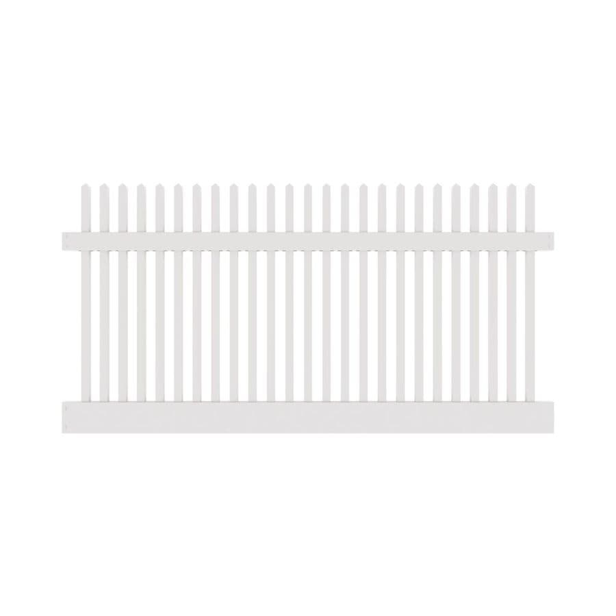 Freedom Ready-To-Assemble Kewsick Straight White Vinyl Fence Panel (Common: 4-ft x 8-ft; Actual: 4-ft x 7.56-ft)