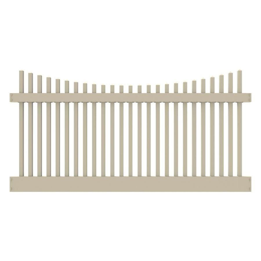 Freedom (Common: 4-ft x 8-ft; Actual: 4-ft x 7.56-ft) Ready To Assemble Keswick scallop Sand Vinyl Fence Panel