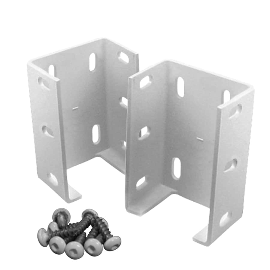 Freedom Pre Assembled 2 Pack White Metal Fence Bracket