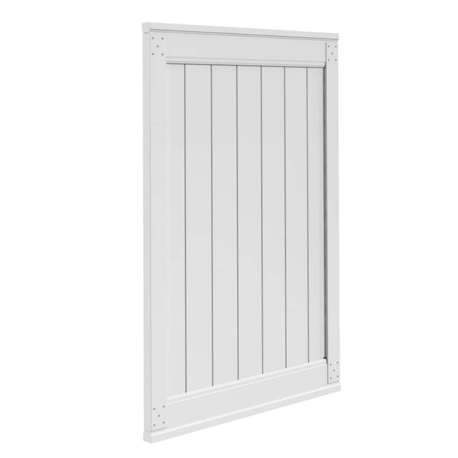 Gatehouse Emblem White Vinyl Privacy Vinyl Fence Gate (Common: 6-ft x 4-ft; Actual: 6-ft x 3.83-ft)