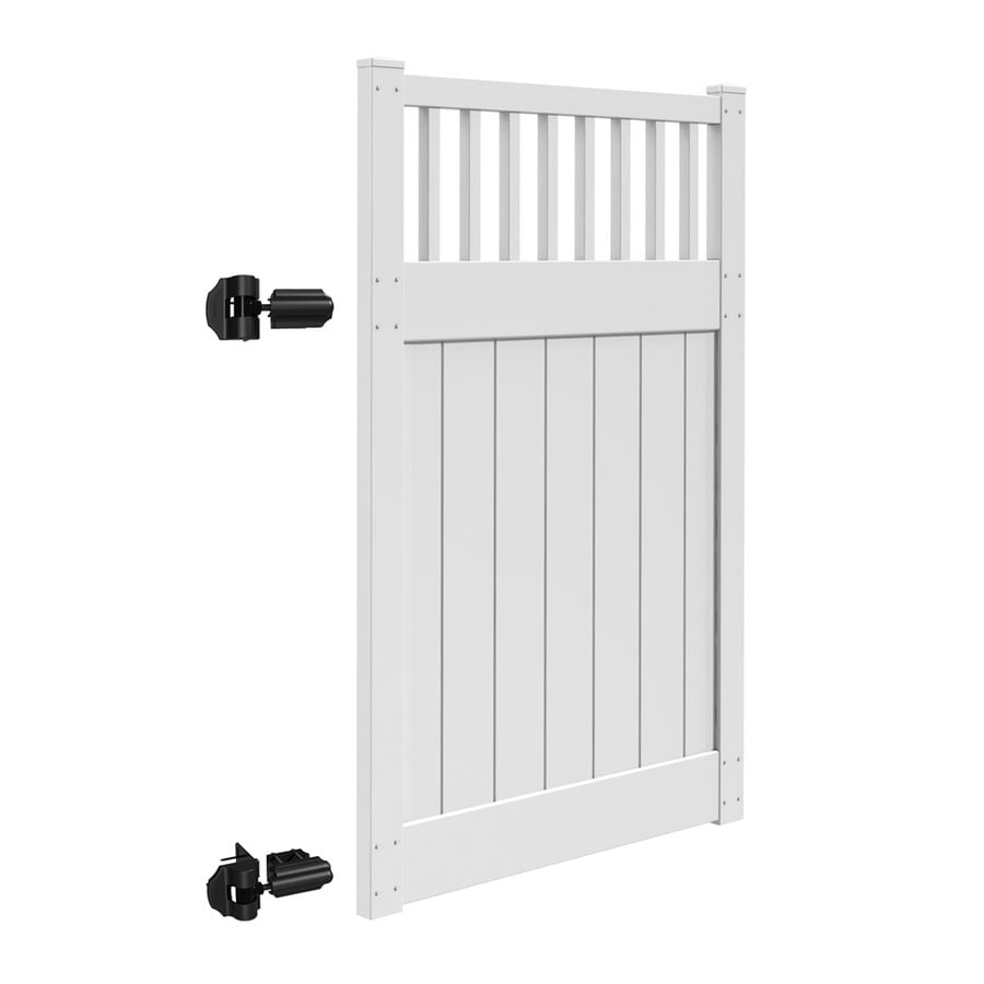 Freedom (Common: 6-ft x 4-ft; Actual: 6-ft x 3.83-ft) Bristol White Vinyl Semi-Privacy Gate