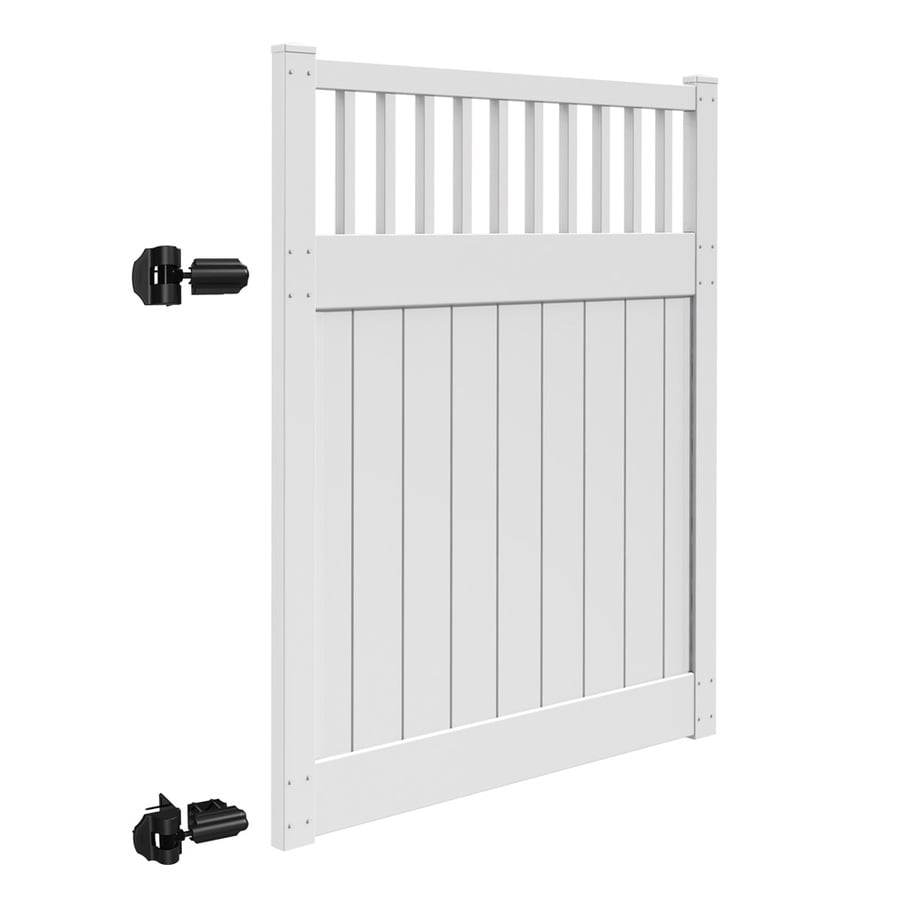 Freedom (Common: 6-ft x 5-ft; Actual: 6-ft x 4.83-ft) Bristol White Vinyl Semi-Privacy Gate