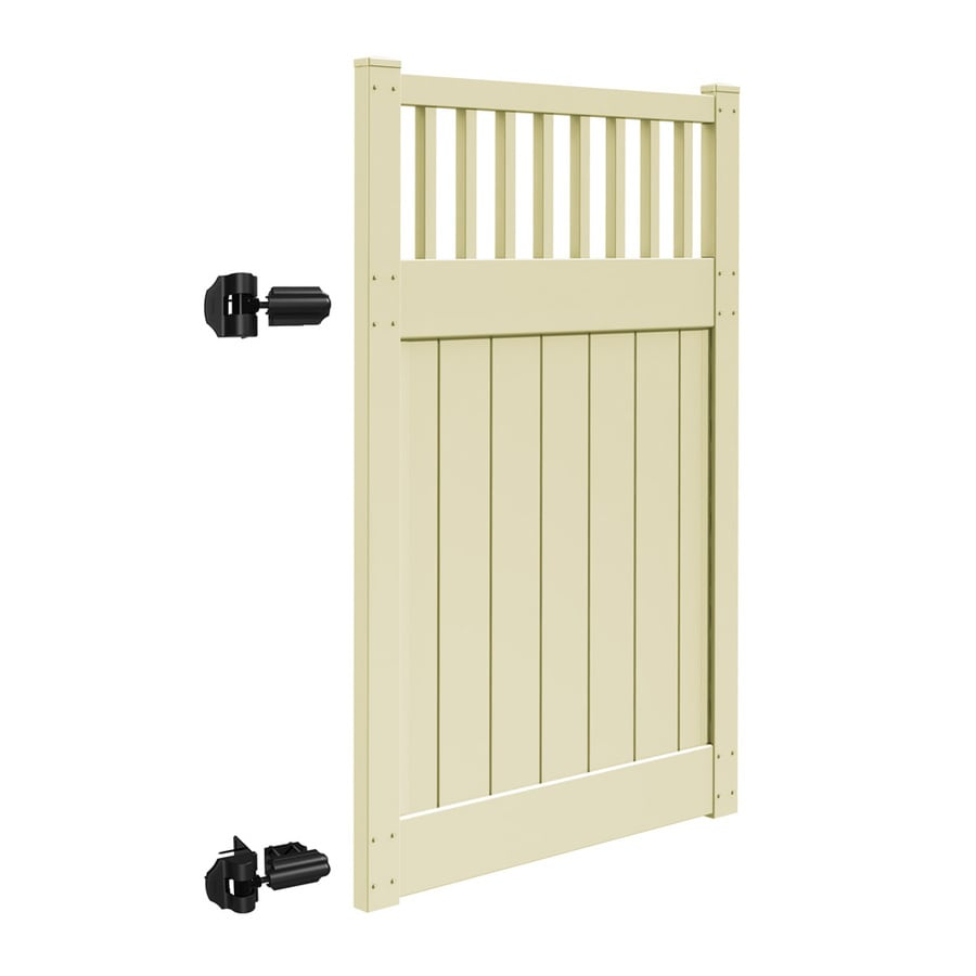 Freedom (Common: 6-ft x 4-ft; Actual: 6-ft x 3.83-ft) Bristol Sand Vinyl Semi-Privacy Gate