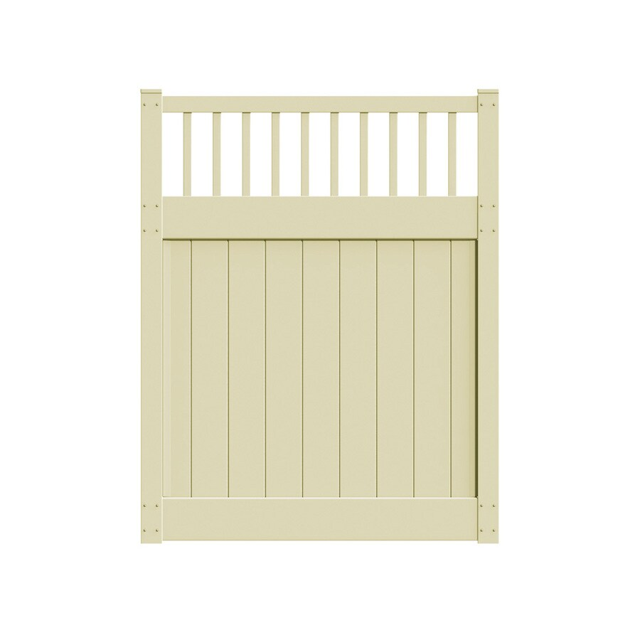 Freedom Bristol Sand Vinyl Semi-Privacy Vinyl Fence Gate (Common: 6-ft x 5-ft; Actual: 6-ft x 4.83-ft)