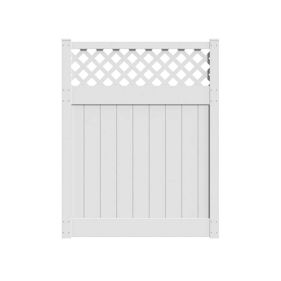 Freedom Bradford White Vinyl Semi-Privacy Vinyl Fence Gate (Common: 6-ft x 5-ft; Actual: 6-ft x 4.83-ft)
