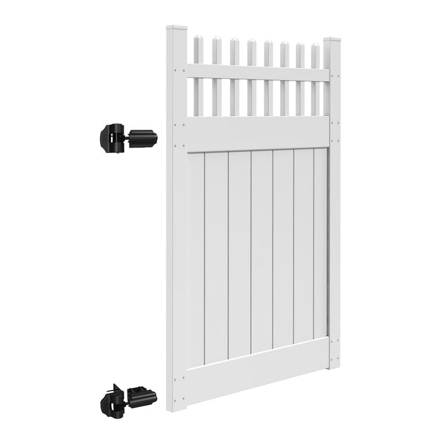 Freedom (Common: 6-ft x 4-ft; Actual: 6-ft x 3.83-ft) Canterbury White Vinyl Semi-Privacy Gate