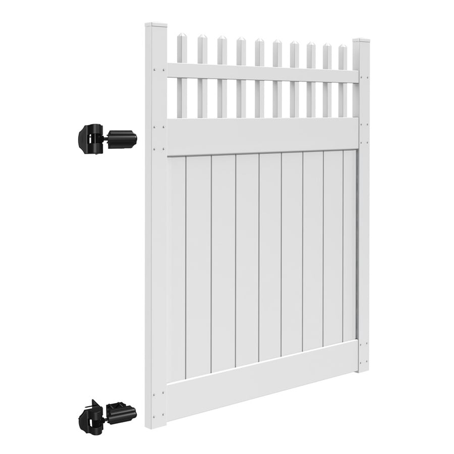 Freedom Canterbury White Vinyl Semi-Privacy Vinyl Fence Gate (Common: 6-ft x 5-ft; Actual: 6-ft x 4.83-ft)