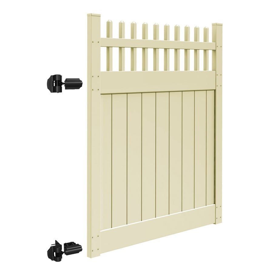 Freedom Canterbury Sand Vinyl Semi-Privacy Vinyl Fence Gate (Common: 6-ft x 5-ft; Actual: 6-ft x 4.83-ft)