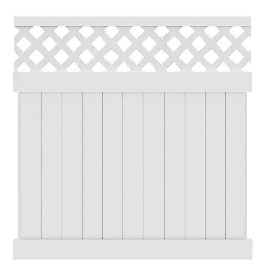 Freedom (Common: 6-ft x 6-ft; Actual: 5.83-ft x 5.56-ft) Ready-to-Assemble Freeport White Semi-Privacy Vinyl Fence Panel