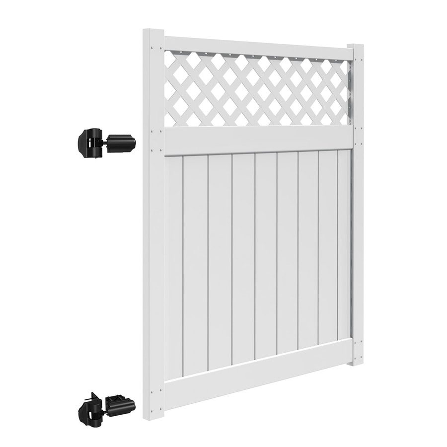 Freedom (Common: 6-ft x 5-ft; Actual: 5.83-ft x 4.83-ft) Freeport White Vinyl Semi-Privacy Gate