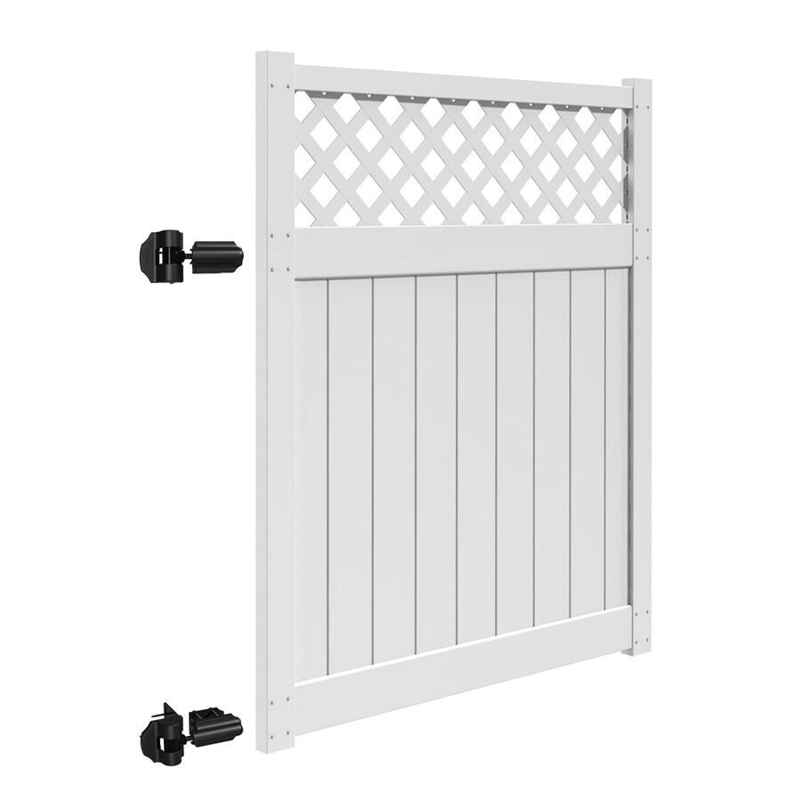 Freedom Freeport White Vinyl Semi-Privacy Vinyl Fence Gate (Common: 6-ft x 5-ft; Actual: 5.83-ft x 4.83-ft)