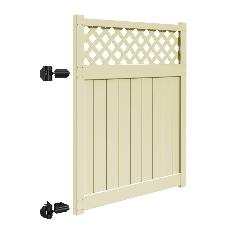 Freedom (Common: 6-ft x 5-ft; Actual: 5.83-ft x 4.83-ft) Freeport Sand Vinyl Semi-Privacy Gate