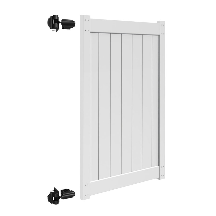 Freedom (Common: 6-ft x 4-ft; Actual: 5.83-ft x 3.83-ft) White Vinyl Privacy Gate