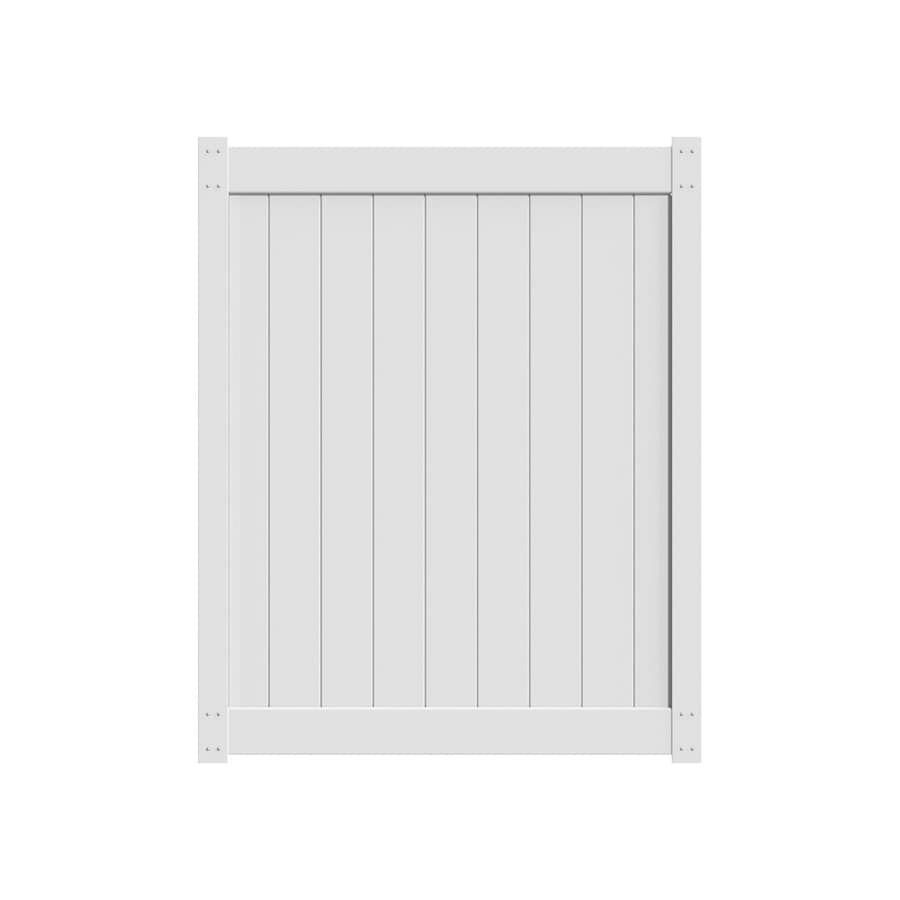 Freedom White Vinyl Privacy Vinyl Fence Gate (Common: 6-ft x 5-ft; Actual: 5.83-ft x 4.83-ft)