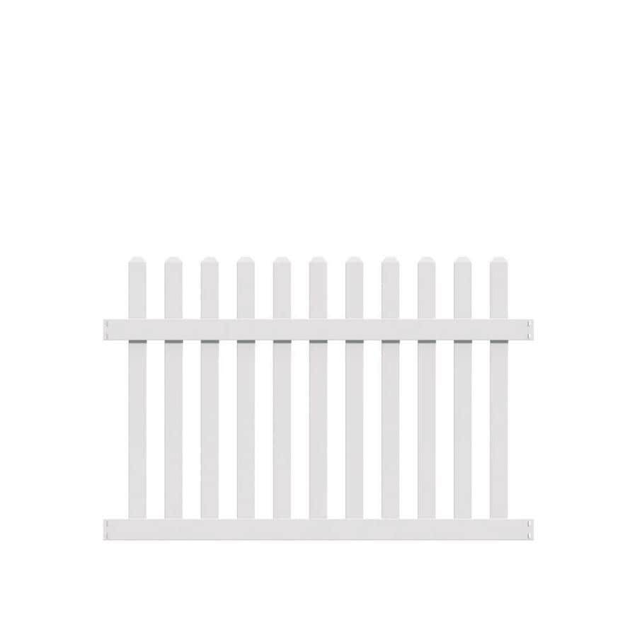 Freedom (Common: 4-ft x 6-ft; Actual: 3.83-ft x 5.64-ft) Ready To Assemble Coventry Straight White Vinyl Fence Panel