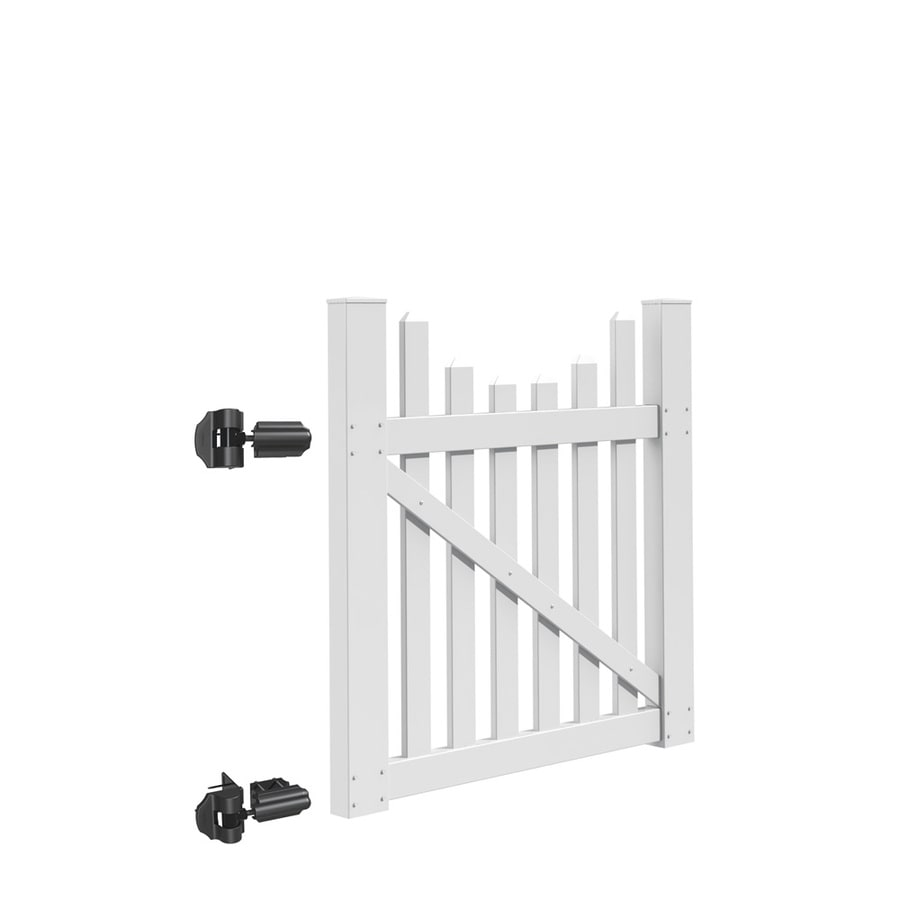 Freedom (Common: 4-ft x 4-ft; Actual: 3.83-ft x 3.83-ft) Coventry Scallop White Vinyl Gate