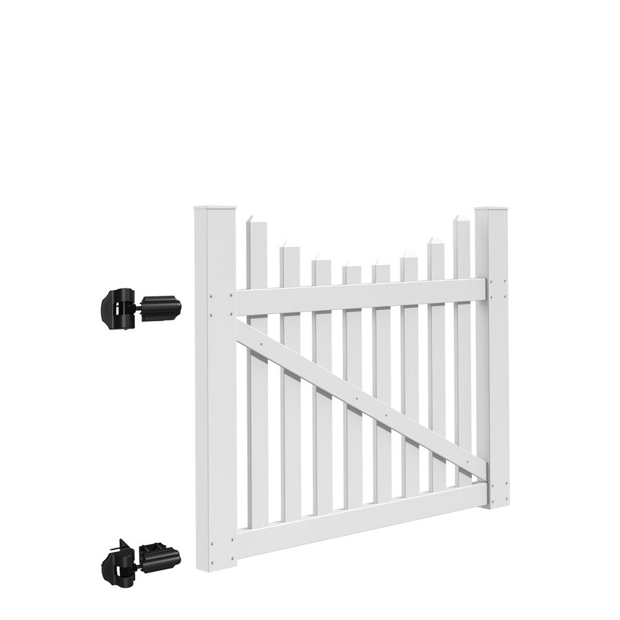 Freedom (Common: 4-ft x 5-ft; Actual: 3.83-ft x 4.83-ft) Coventry Scallop White Vinyl Gate