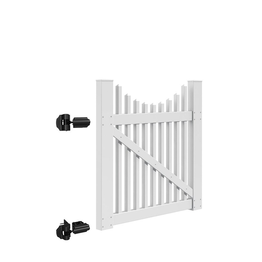 Freedom (Common: 4-ft x 4-ft; Actual: 3.83-ft x 3.83-ft) Carlisle Scallop White Vinyl Gate