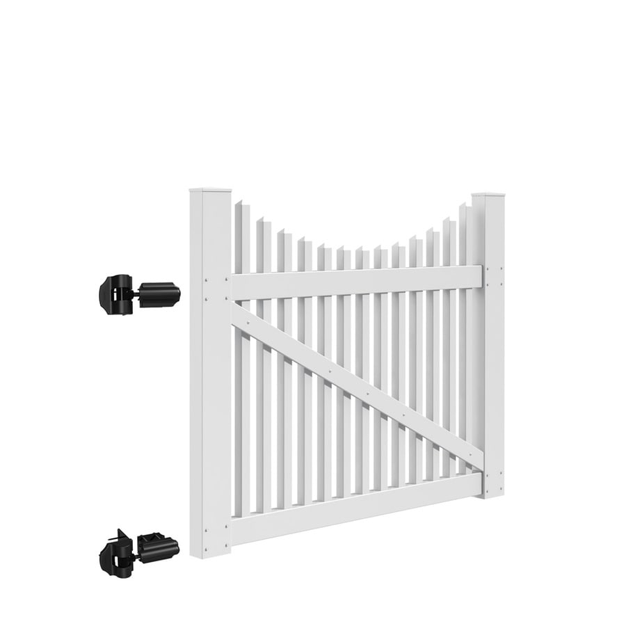 Freedom (Common: 4-ft x 5-ft; Actual: 3.83-ft x 4.83-ft) Carlisle Scallop White Vinyl Gate