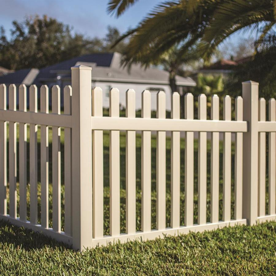 Freedom Ready-To-Assemble Coventry Straight Sand Vinyl Fence Panel (Common: 4-ft x 6-ft; Actual: 3.83-ft x 5.64-ft)