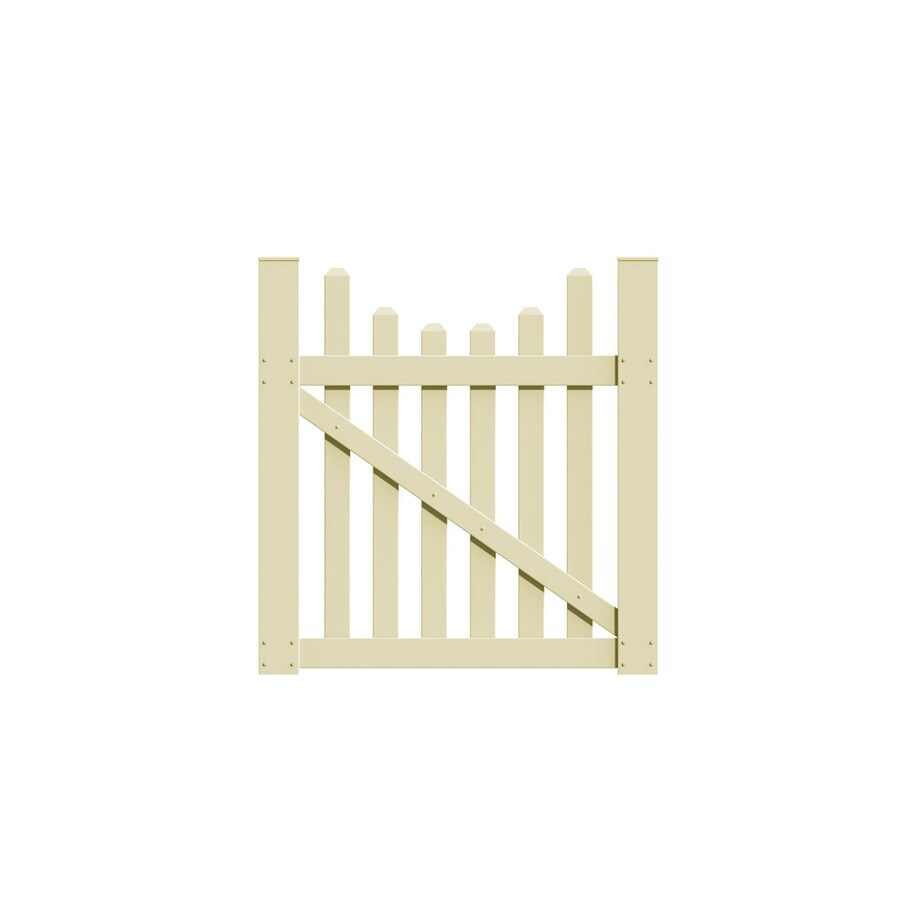 Freedom Coventry Scallop Sand Vinyl Vinyl Fence Gate (Common: 4-ft x 4-ft; Actual: 3.83-ft x 3.83-ft)