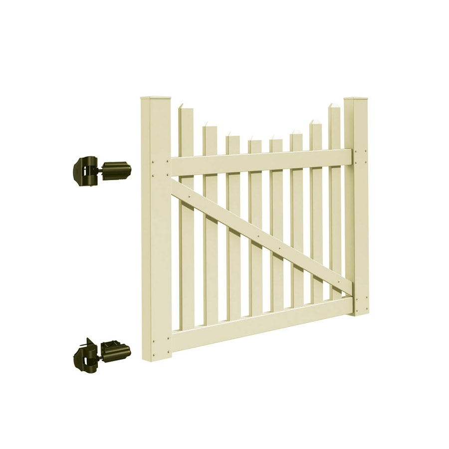 Freedom Coventry Scallop Sand Vinyl Vinyl Fence Gate (Common: 4-ft x 5-ft; Actual: 3.83-ft x 4.83-ft)
