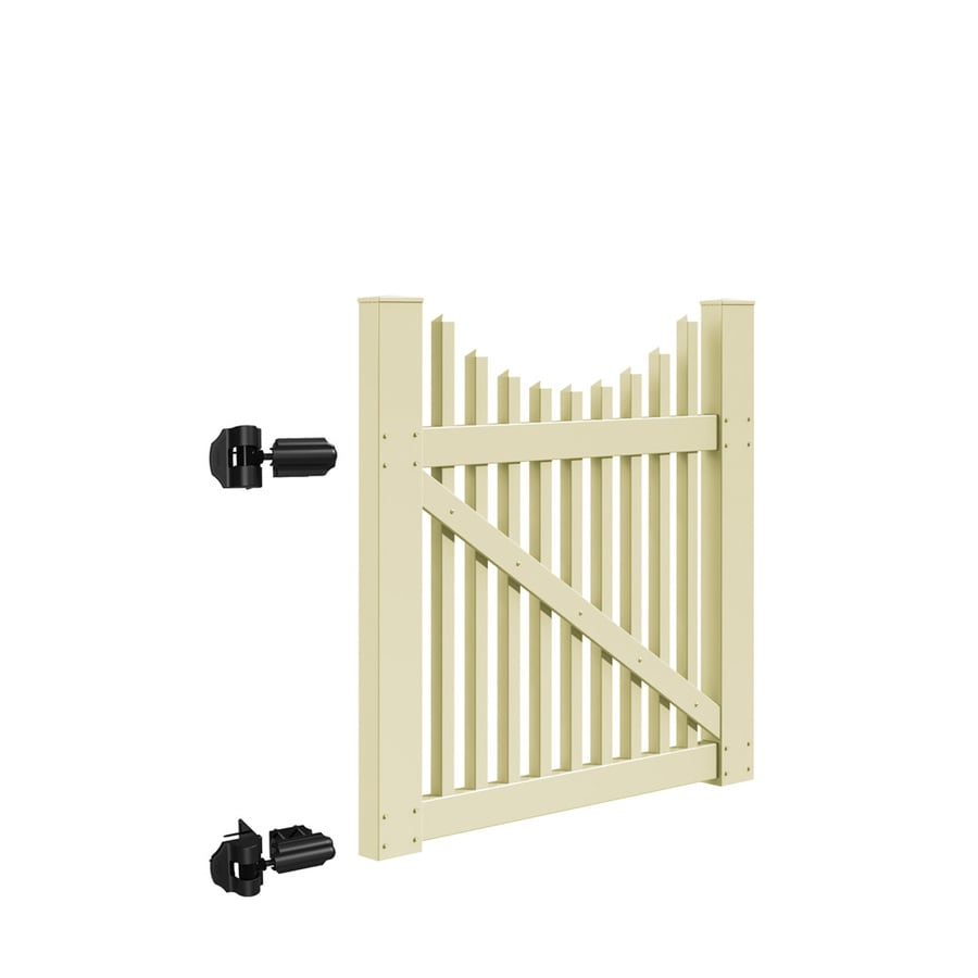 Freedom Carlisle Scallop Sand Vinyl Vinyl Fence Gate (Common: 4-ft x 4-ft; Actual: 3.83-ft x 3.83-ft)