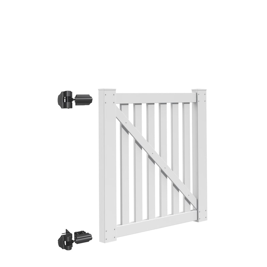 Freedom (Common: 4-ft x 4-ft; Actual: 3.83-ft x 3.83-ft) Durham White Vinyl Gate