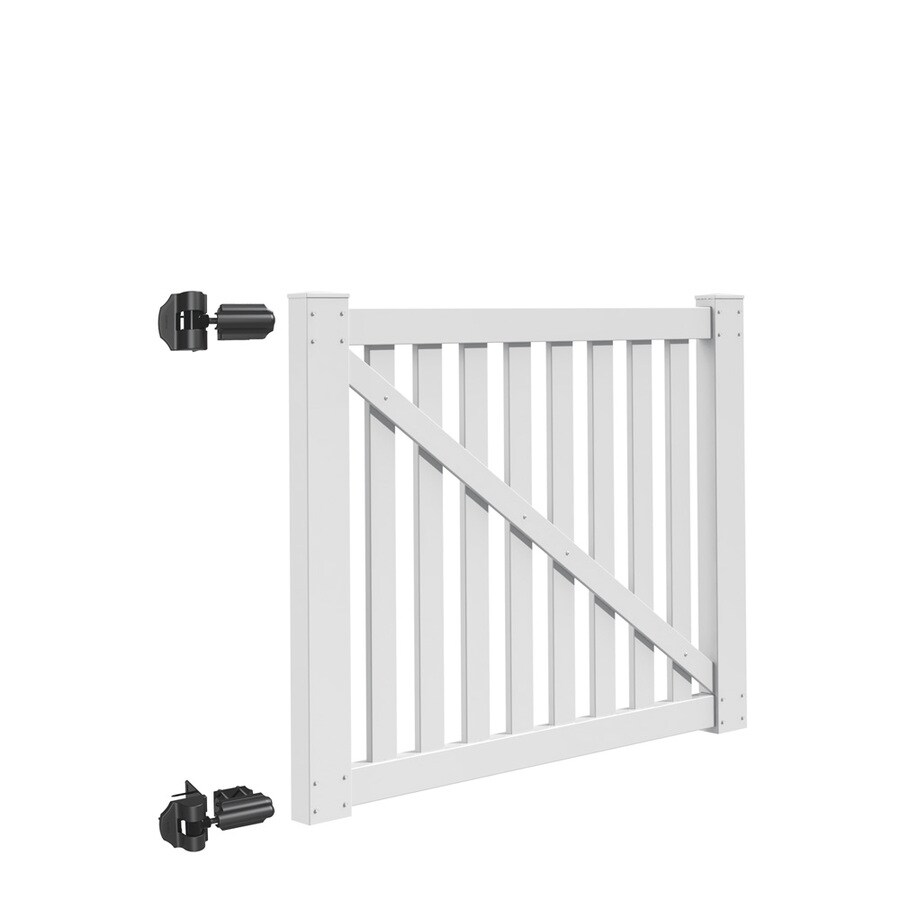 Freedom Durham White Vinyl Vinyl Fence Gate (Common: 4-ft x 5-ft; Actual: 3.83-ft x 4.83-ft)