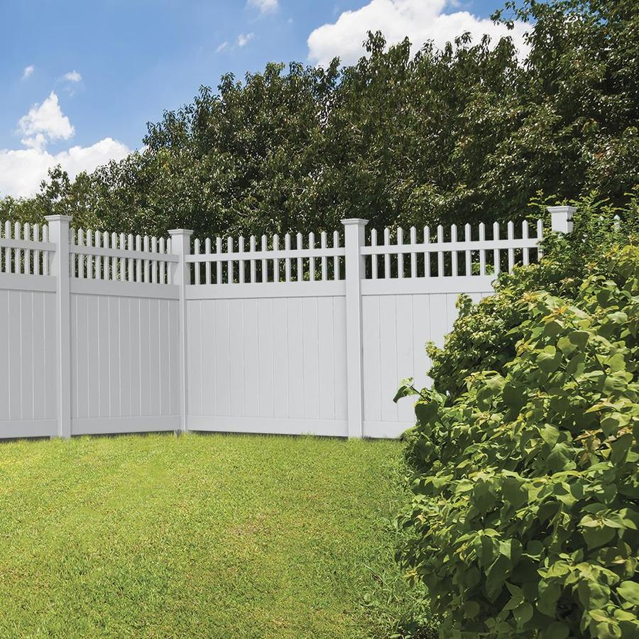 Freedom Ready-To-Assemble Manchester White Vinyl Semi-Privacy Fence Panel (Common: 6-ft x 6-ft; Actual: 5.83-ft x 5.56-ft)
