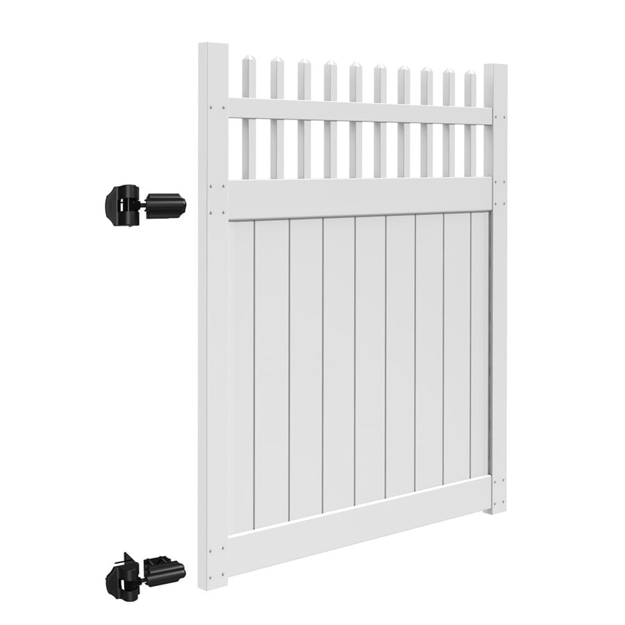 Freedom (Common: 6-ft x 5-ft; Actual: 5.83-ft x 4.83-ft) Manchester White Vinyl Gate