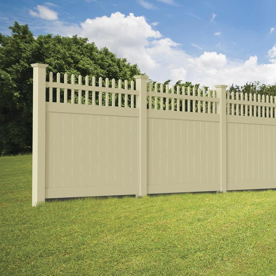 Freedom (Common: 6-ft x 6-ft; Actual: 5.83-ft x 5.56-ft) Ready To Assemble Manchester Sand Vinyl Semi-privacy Fence Panel