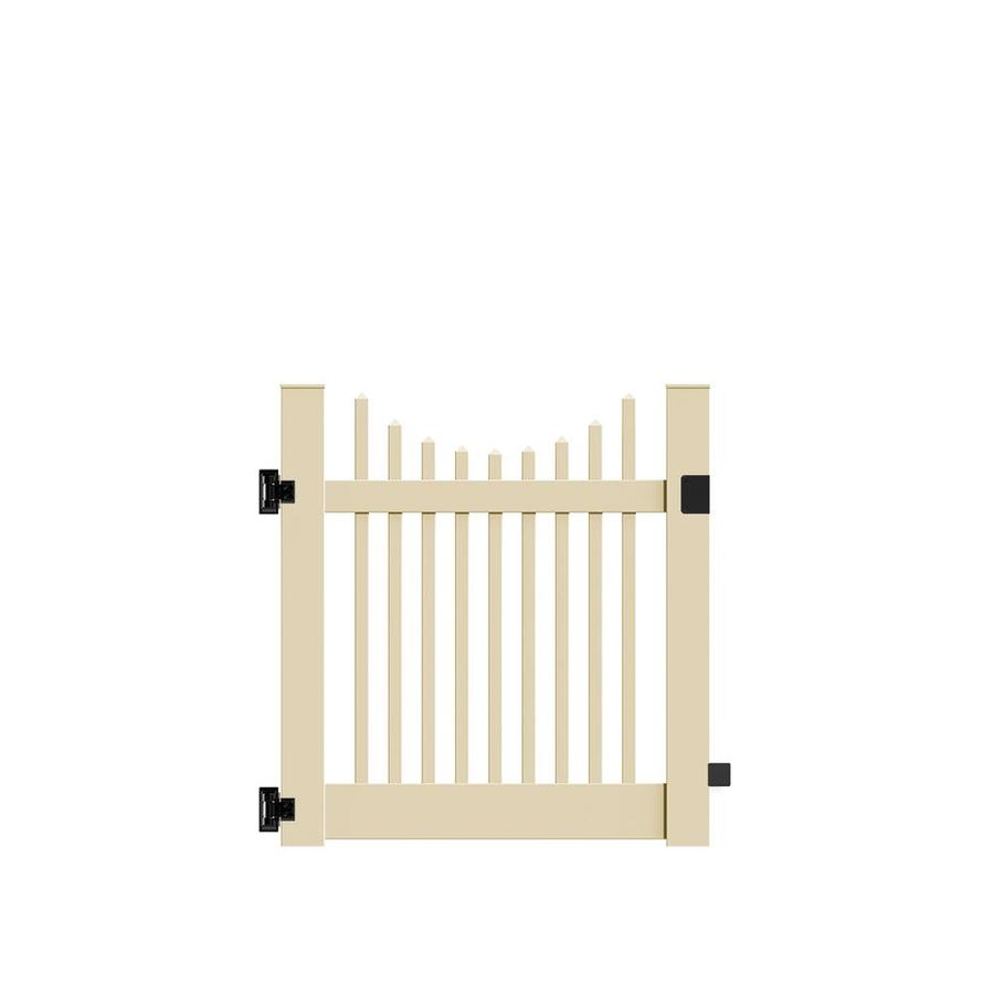 Freedom Keswick Scallop Sand Vinyl Vinyl Fence Gate (Common: 4-ft x 4-ft; Actual: 4-ft x 3.83-ft)