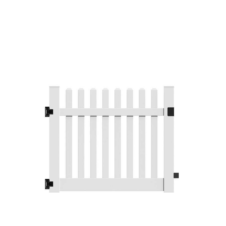 Freedom (Common: 4-ft x 5-ft; Actual: 4-ft x 4.83-ft) Lennox White Vinyl Gate
