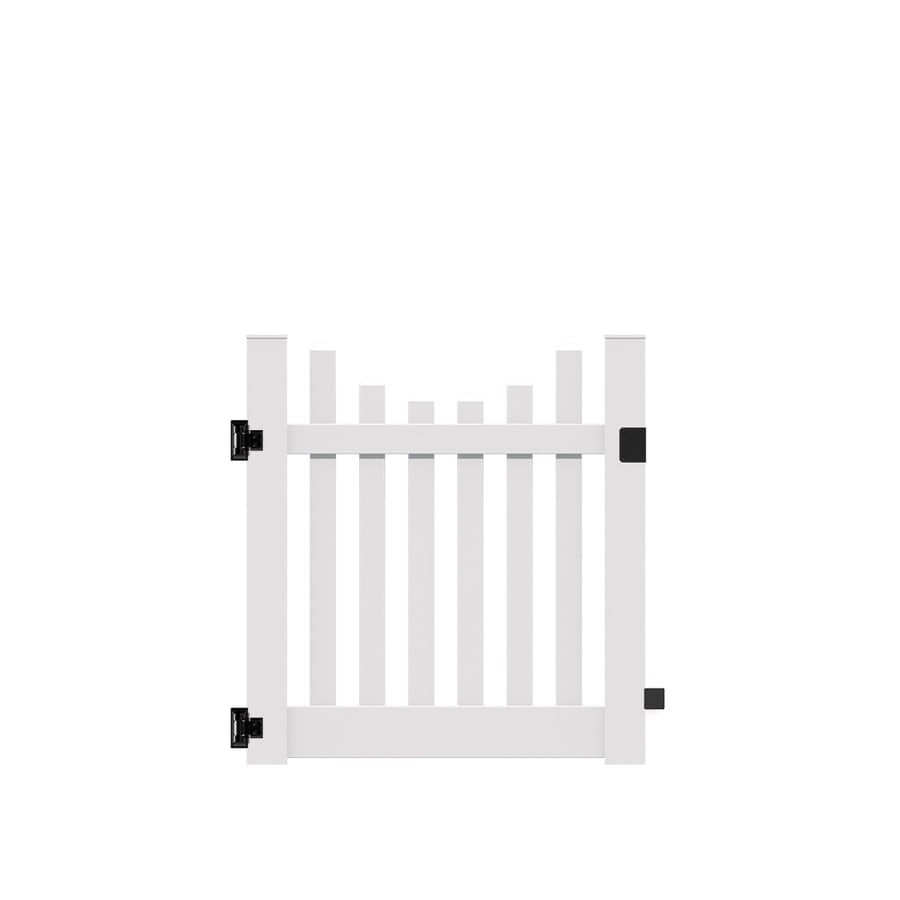 Freedom (Common: 4-ft x 4-ft; Actual: 4-ft x 3.83-ft) Lennox scallop White Vinyl Gate