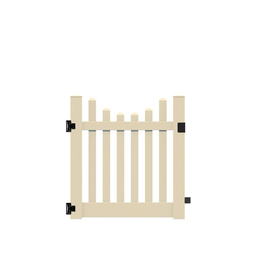 Freedom (Common: 4-ft x 4-ft; Actual: 4-ft x 3.83-ft) Lennox scallop Sand Vinyl Gate