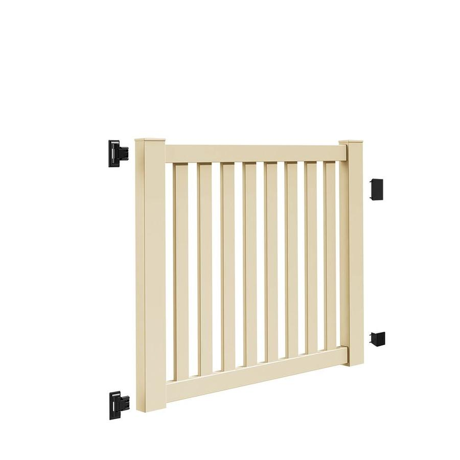 Freedom Terex Sand Vinyl Vinyl Fence Gate (Common: 4-ft x 5-ft; Actual: 4.04-ft x 4.83-ft)