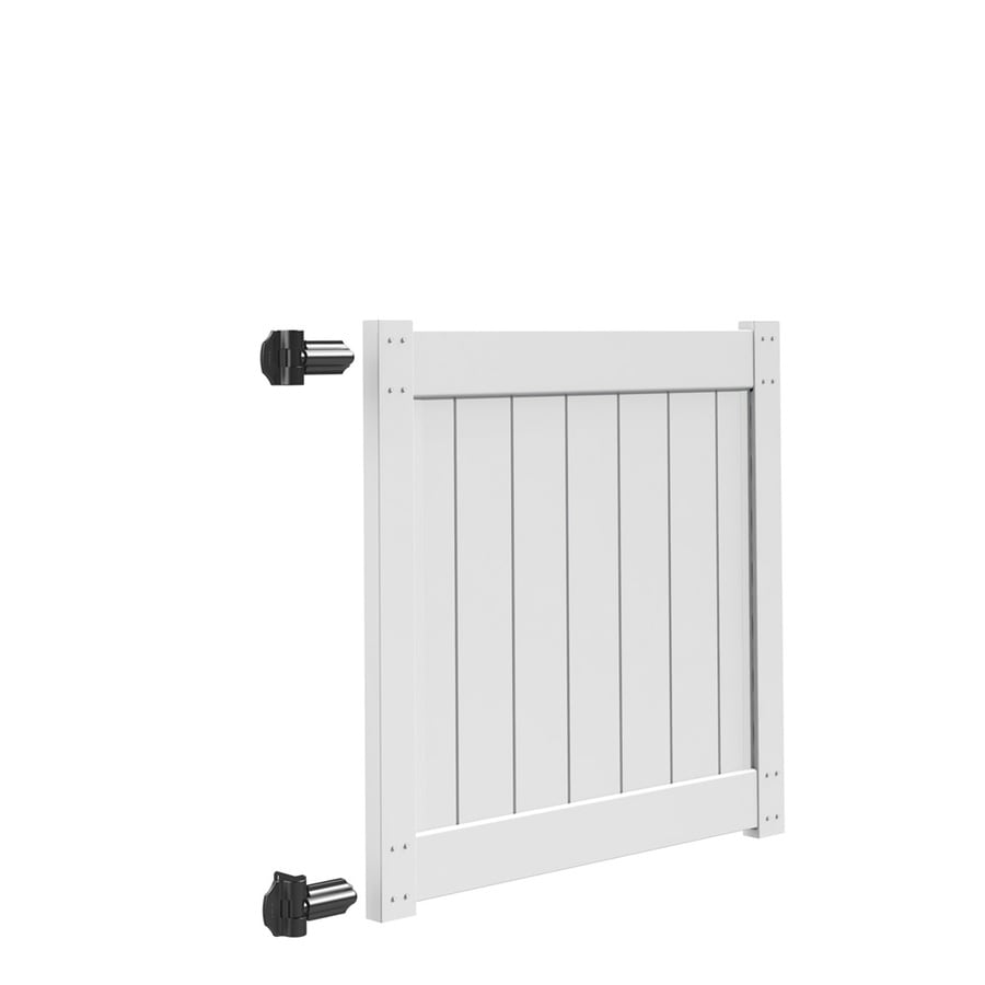 Freedom White Vinyl Privacy Vinyl Fence Gate (Common: 4-ft x 4-ft; Actual: 4-ft x 3.83-ft)