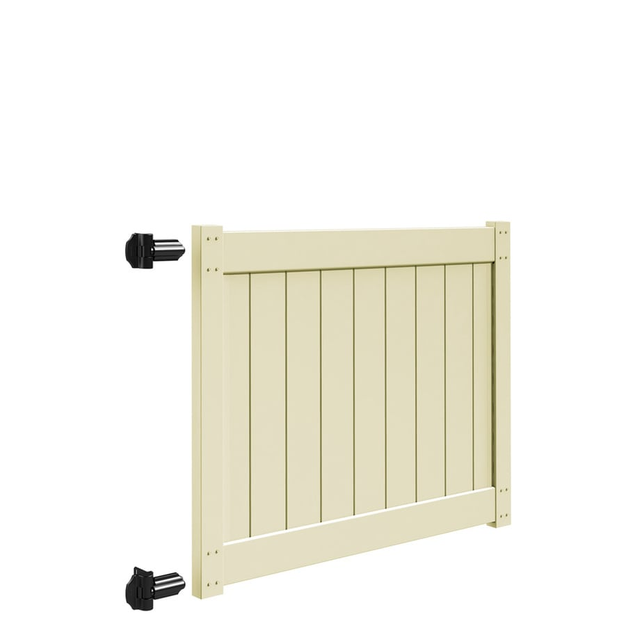 Freedom Sand Vinyl Privacy Vinyl Fence Gate (Common: 4-ft x 5-ft; Actual: 4-ft x 4.83-ft)