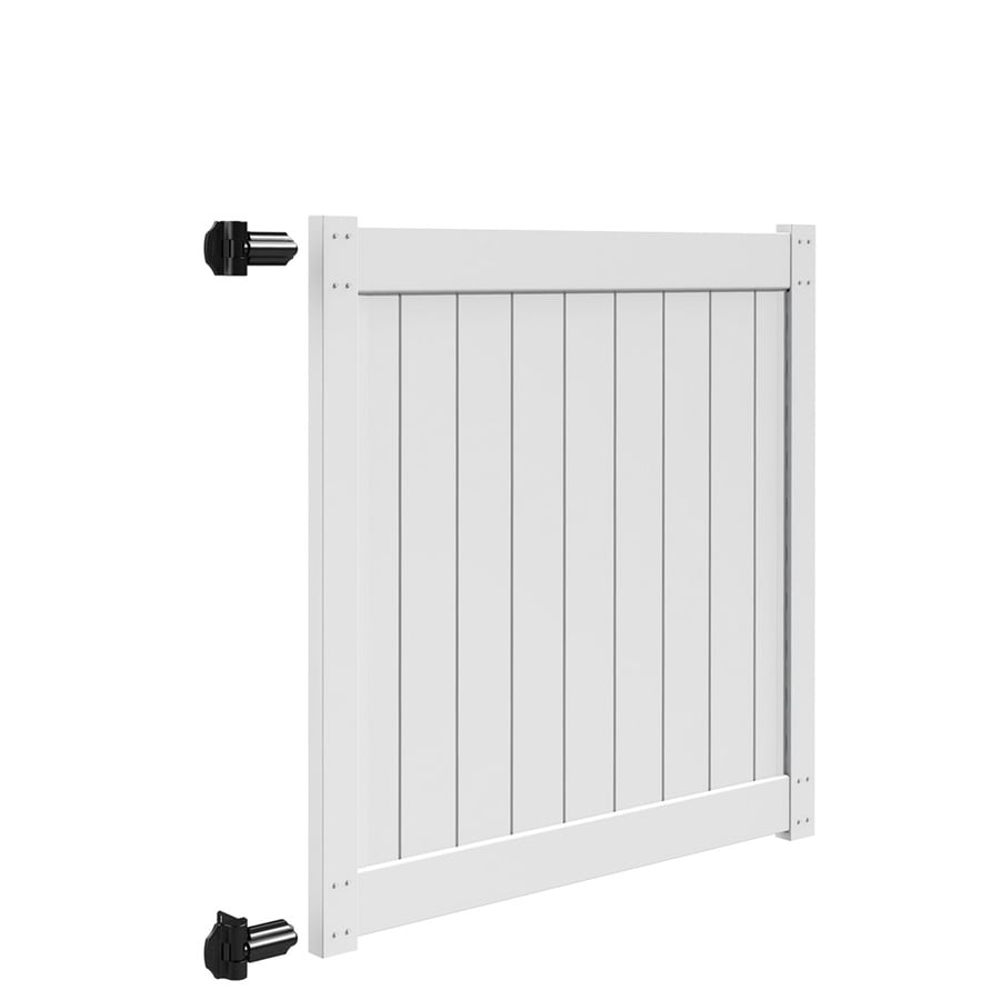 Freedom (Common: 5-ft x 5-ft; Actual: 5-ft x 4.83-ft) White Vinyl Privacy Gate