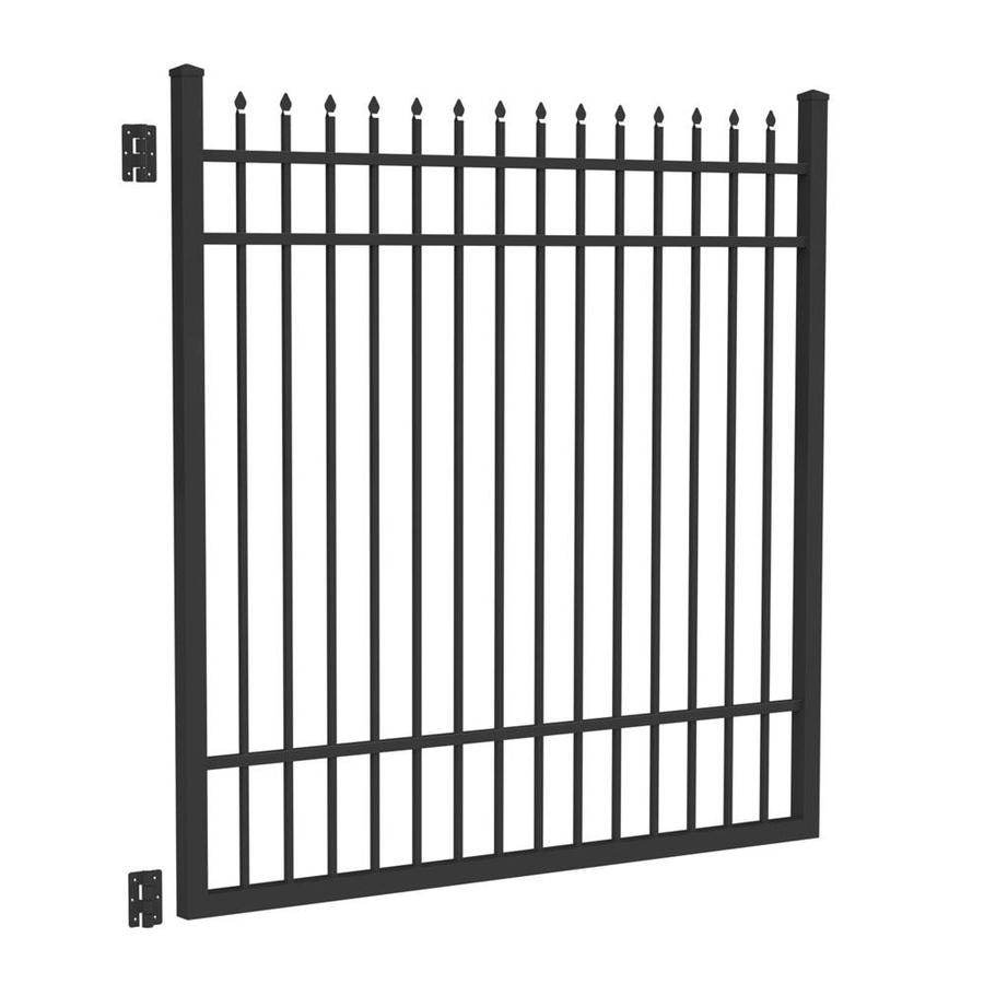 Freedom Providence Black Aluminum Decorative Fence Gate (Common: 6-ft x 6-ft; Actual: 6.02-ft x 5.875-ft)