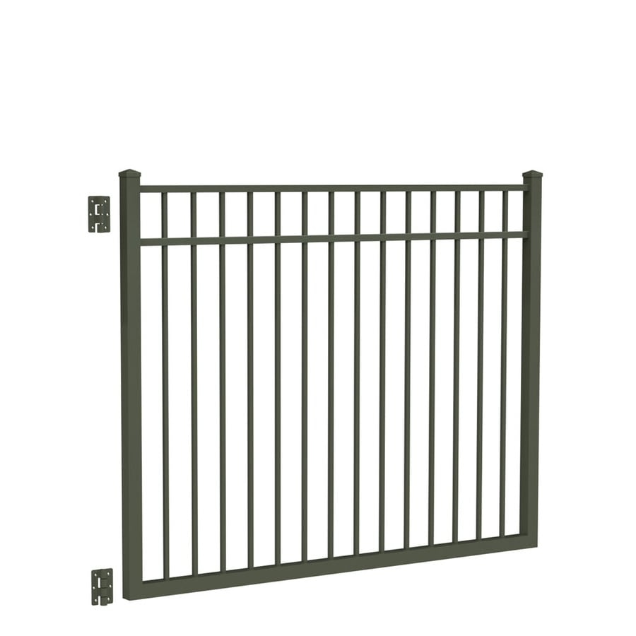 Freedom New Haven Pewter Aluminum Decorative Fence Gate (Common: 4.5-ft x 6-ft; Actual: 4.7-ft x 5.875-ft)