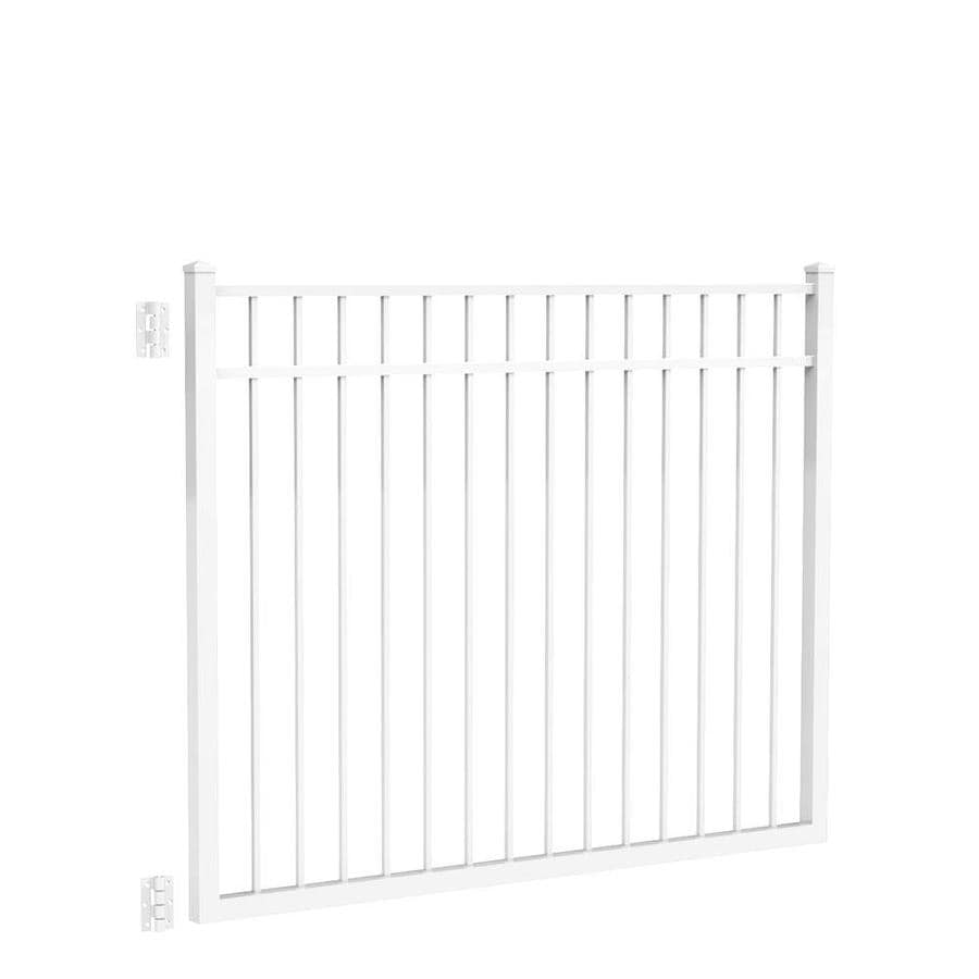 Freedom (Common: 4.5-ft x 6-ft; Actual: 4.7-ft x 5.875-ft) New Haven White Aluminum Decorative Fence Gate