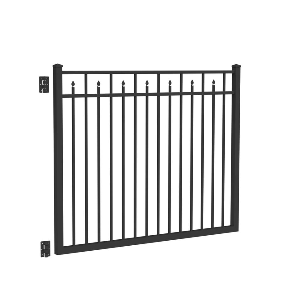 Freedom Concord Black Aluminum Decorative Fence Gate (Common: 4.5-ft x 6-ft; Actual: 4.7-ft x 5.875-ft)