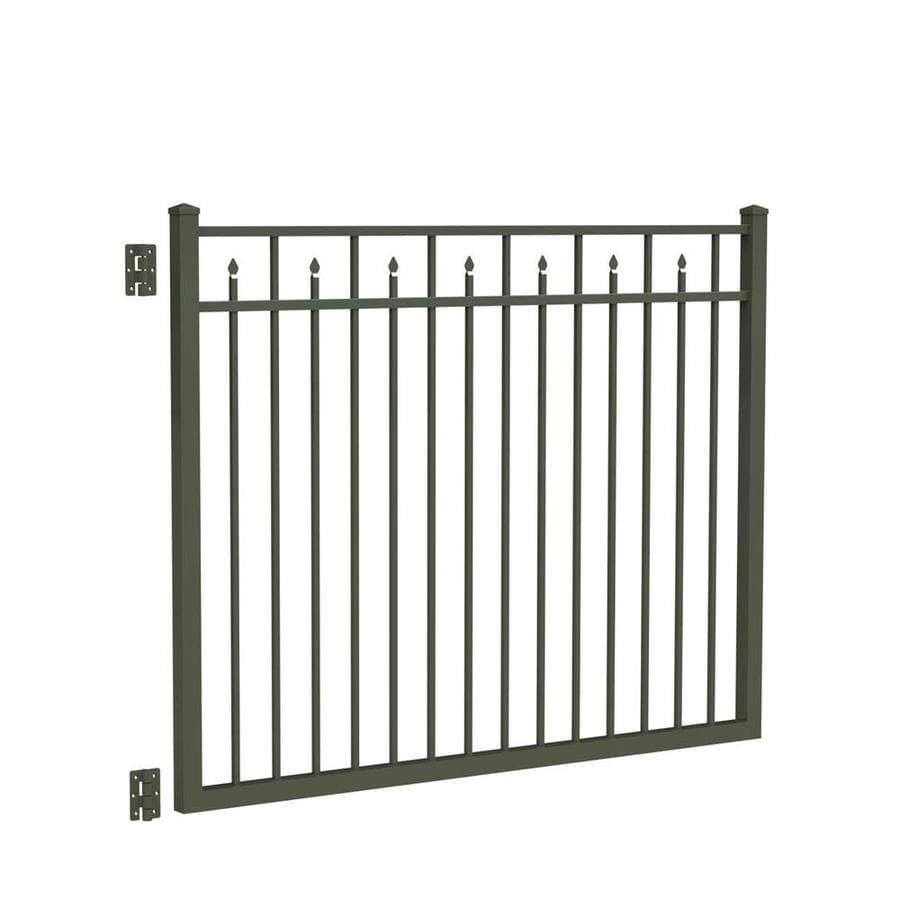 Freedom (Common: 4.5-ft x 6-ft; Actual: 4.7-ft x 5.875-ft) Concord Pewter Aluminum Decorative Fence Gate