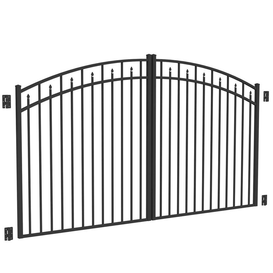 Shop freedom black aluminum driveway gate common 120 in for Aluminum gates for driveways